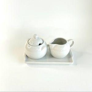 NEW White Porcelain Sugar n Creamer Set with Tray